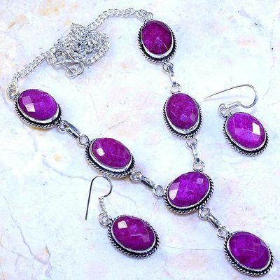 Rub 805a collier boucles oreilles paire 10x15mm rubis cachemire bijou ethnique achat vente