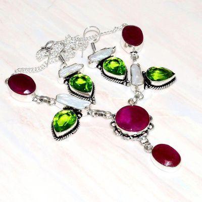 Rub 810a collier boucles oreilles 10x15mm rubis cachemire peridot perle nacre bijou achat vente