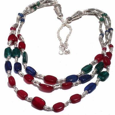 Rub 818b collier parure sautoir rubis emeraude saphir bijou achat vente argent 925