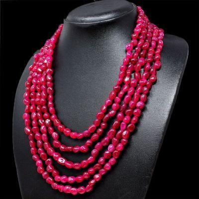 Rub 856b collier parure sautoir 5rangs 15x25mm rubis perles achat vente bijoux ethniques