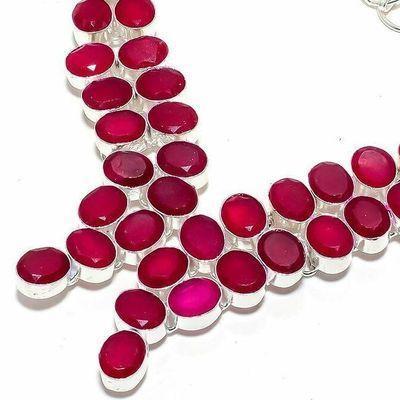 Rub 922b collier parure rubis 12x8mm 66gr bijou ethnique achat vente argent 925
