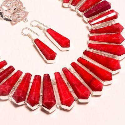Rub 925e collier parure rubis 35x10m 160gr bijou ethnique achat vente argent 925