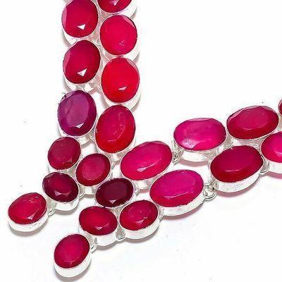 Rub 929b collier parure rubis 10x15m 75gr bijou ethnique achat vente argent 925