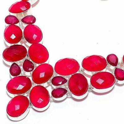 Rub 930b collier parure rubis grenat 10x15m 60gr bijou ethnique achat vente argent 925