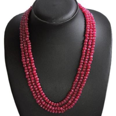 Rub 935a collier parure 3rangs perles lanterne rubis 6x6mm achat vente bijou