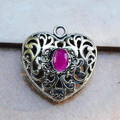 Rub 953a pendentif coeur pendant rubis achat vente bijou argent 925