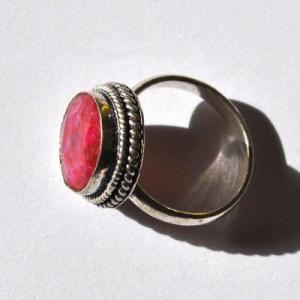 Rub 954b bague chevaliere anneau t52 56 rubis 15x10mm 5gr medievale bijou argent925