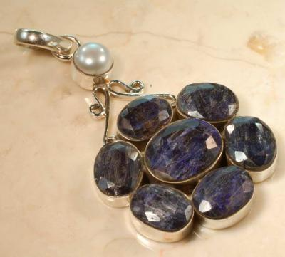 RUB-190 - Superbe PENDENTIF Vintage avec 7 saphirs bleus 72 carats et Argent 925
