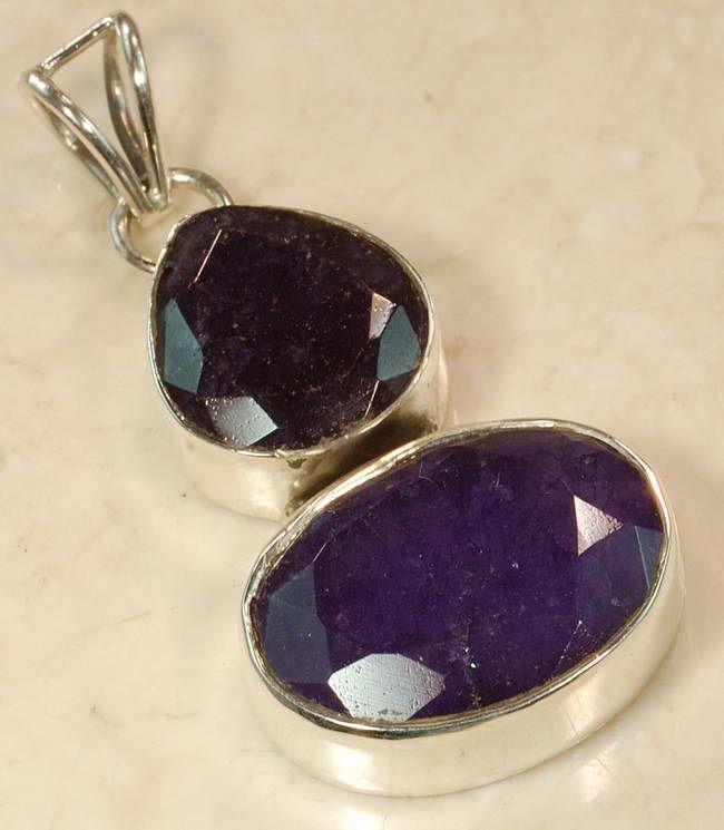 RUB-191 - Joli PENDENTIF Vintage avec 2 gros saphirs bleus 50 carats et Argent 925