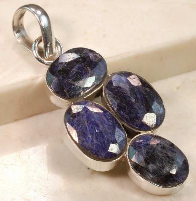 RUB-919 - Joli PENDENTIF vintage avec 4 saphirs bleus 41 carats et Argent 925