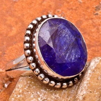 SA-0030-T54 - Jolie BAGUE Vintage avec SAPHIR Bleu du cachemire - 28 carats Plq AG925