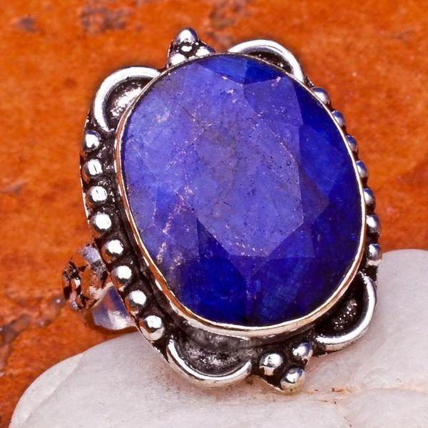 SA-0031-T54 - Jolie BAGUE Vintage avec SAPHIR Bleu du cachemire - 30 carats Plq AG 925