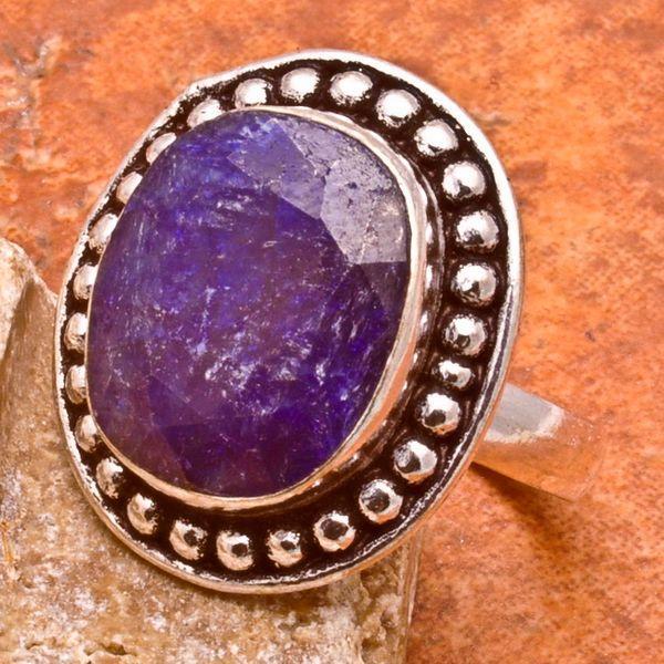 SA-0033-T57 - Jolie BAGUE Vintage avec SAPHIR Bleu du cachemire - 33 carats Plq AG 925