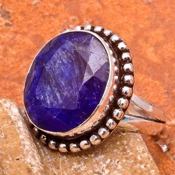 SA-0033-T56 - Jolie BAGUE Vintage avec SAPHIR Bleu du cachemire - 33 carats Plq AG 925