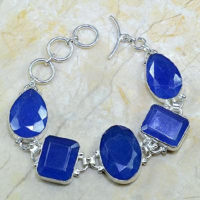 SA-0303 - BRACELET en SAPHIR Bleu du cachemire - Argent 925 - 189 carats - 37,8 gr