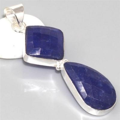 SA-0304 - Joli PENDENTIF Vintage avec 2 gros saphirs bleus 49 carats - 9.9 g  et Argent 925