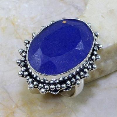 SA-0306- Grosse BAGUE Vintage T58 avec SAPHIR Bleu du cachemire - 47 carats  9.5 g Plq AG 925