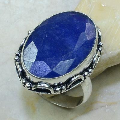 SA-0307- Grosse BAGUE Vintage T61 avec SAPHIR Bleu du cachemire - 49 carats  9.8 g Plq AG 925