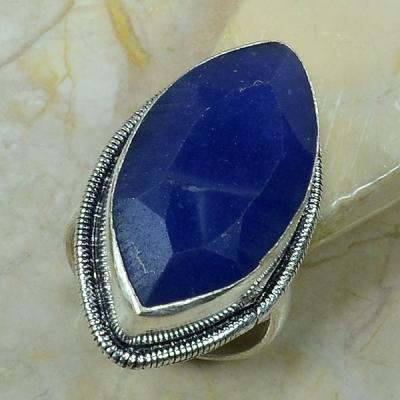 SA-0308- Grosse BAGUE Vintage T63 avec SAPHIR Bleu du cachemire - Argent 925 - 60 carats  12 g