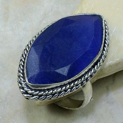 SA-0309- Grosse BAGUE Vintage T63 avec SAPHIR Bleu du cachemire - 49 carats  9.9 g Plq AG 925