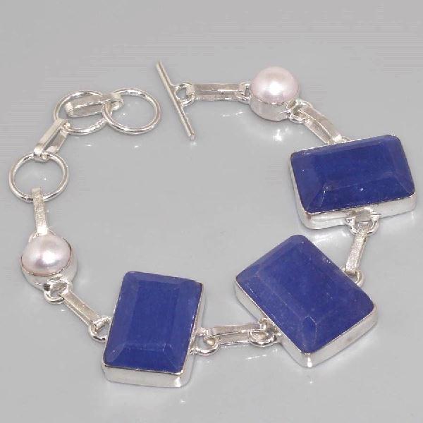 SA-0311- BRACELET en SAPHIR Bleu et PERLES Nacre - Argent 925 - 110 carats - 22 g