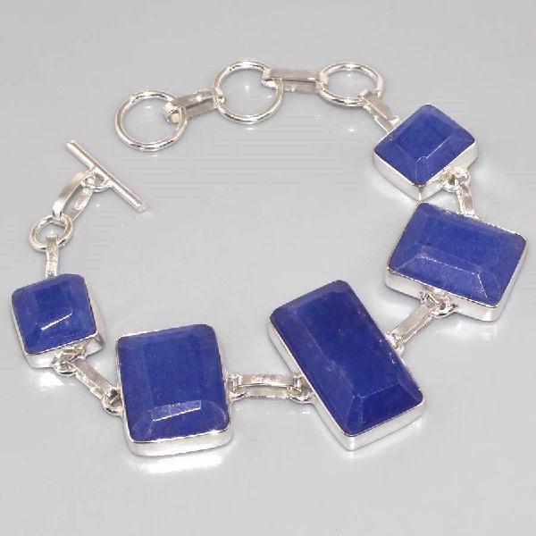 SA-0312 - BRACELET en SAPHIR Bleu du cachemire - Argent 925 - 140 carats - 24 gr