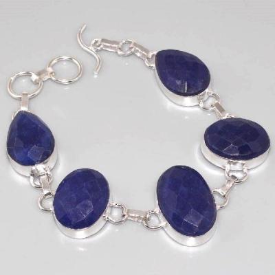 SA-0313 - BRACELET en SAPHIR Bleu du cachemire - Argent 925 - 160 carats - 32 gr