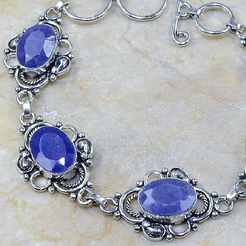 SA-0314 - BRACELET en SAPHIR Bleu du cachemire - Argent 925 - 110 carats - 22 gr