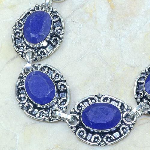 SA-0315 - BRACELET en SAPHIR Bleu du cachemire - Argent 925 - 122 carats - 24,4 gr