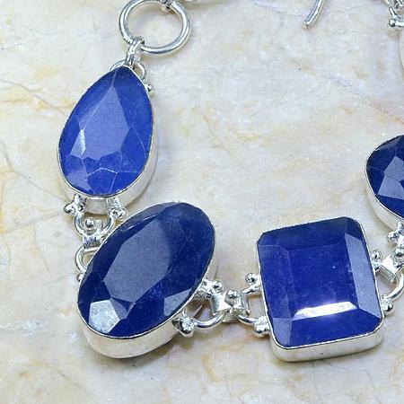 SA-0318 - BRACELET en SAPHIR Bleu du cachemire - Argent 925 - 197 carats - 39,4 gr