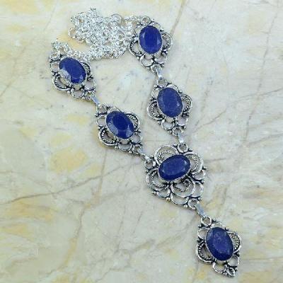 SA-0319 - Joli COLLIER, SAUTOIR, PARURE en SAPHIR Bleu et Argent 925 - 30,8 gr - 154 carats