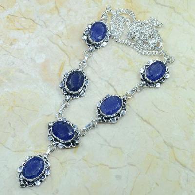 SA-0322 - Joli COLLIER, SAUTOIR, PARURE en SAPHIR Bleu et Argent 925 - 30 gr - 150 carats
