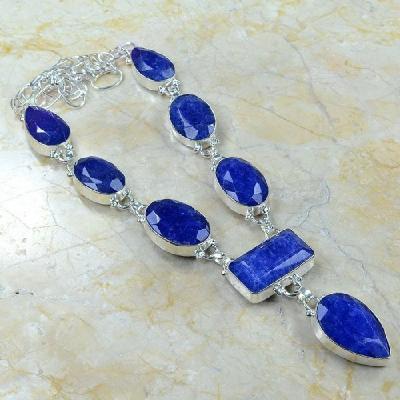 SA-0319 - Rare : PARURE COLLIER avec 8 énormes SAPHIRS Bleus et Argent 925 - 30,8 gr - 154 carats