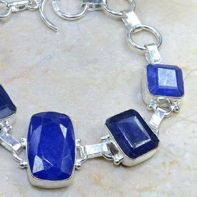 SA-0334 - BRACELET en SAPHIR Bleu du cachemire - Argent 925 - 149 carats - 29,8 gr