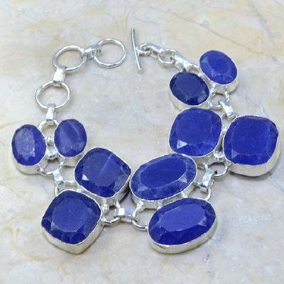 SA-0335 - BRACELET en SAPHIR Bleu du cachemire - Argent 925 - 204 carats - 40,8 gr
