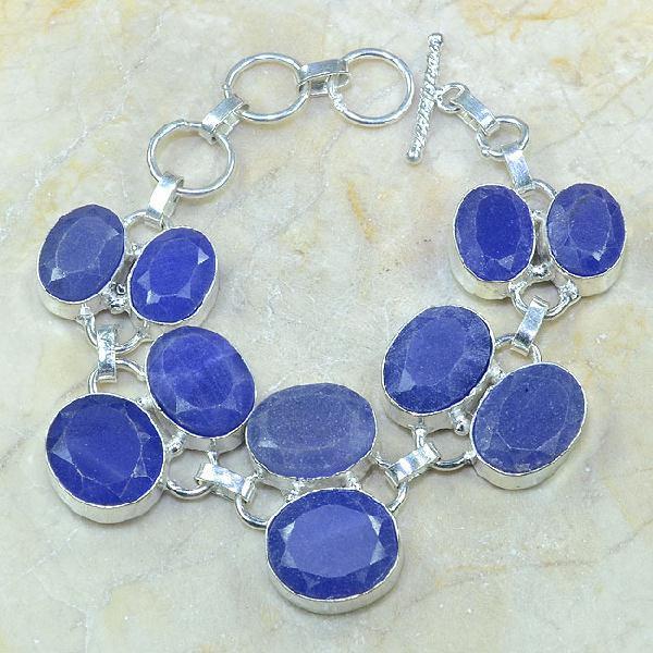 SA-0336 - BRACELET en SAPHIR Bleu du cachemire - Argent 925 - 225 carats - 45 gr