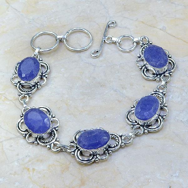 SA-0340 - BRACELET en SAPHIR Bleu du cachemire - Argent 925 - 105 carats - 21 gr
