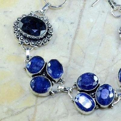 SA-0341 - BRACELET en SAPHIR Bleu du cachemire - Argent 925 - 138 carats - 27,4 gr