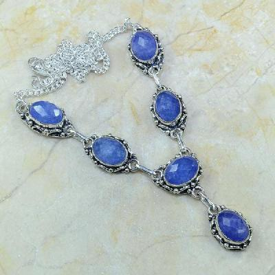 SA-0342 - Joli COLLIER, SAUTOIR, PARURE en SAPHIR Bleu et Argent 925 - 30,4 gr - 152 carats