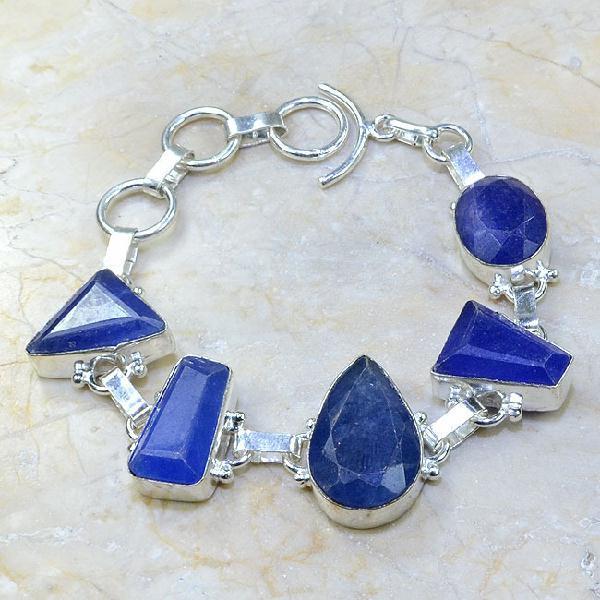 SA-0343 - BRACELET en SAPHIR Bleu du cachemire - Argent 925 - 145 carats - 29 gr