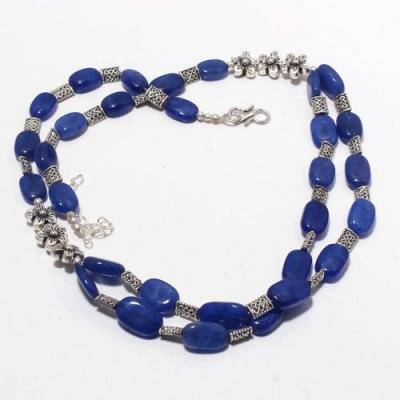 Sa 0407a collier parure 2rangs saphir bleu 10x15mm 46gr achat vente bijou ethnique argent 925