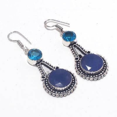 Sa 0423a boucles oreilles saphir topaze bleue 8 15mm achat vente bijou argent 925