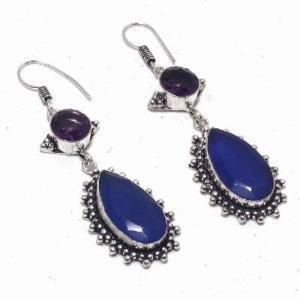 Sa 0424a boucles oreilles saphir amethyste bleue 8 10x15mm achat vente bijou argent 925