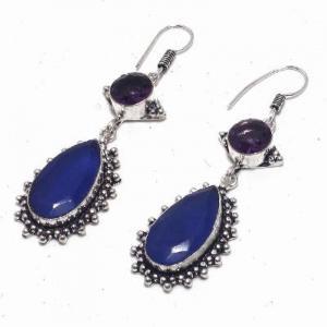 Sa 0424b boucles oreilles saphir amethyste bleue 8 10x15mm achat vente bijou argent 925