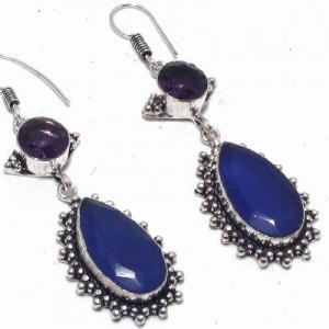Sa 0424c boucles oreilles saphir amethyste bleue 8 10x15mm achat vente bijou argent 925