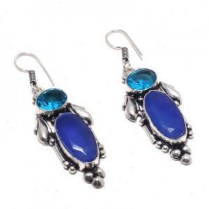 Sa 0428a boucles oreilles saphir topaze bleue 13gr 10x20mm achat vente bijou argent 925