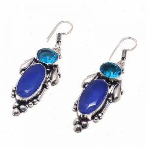 Sa 0428b boucles oreilles saphir topaze bleue 13gr 10x20mm achat vente bijou argent 925