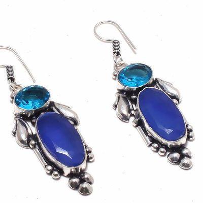 Sa 0428c boucles oreilles saphir topaze bleue 13gr 10x20mm achat vente bijou argent 925