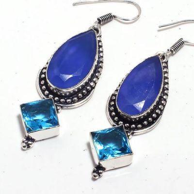 Sa 0440b boucles oreilles saphir topaze bleue 15gr 10x20mm achat vente bijou argent 925