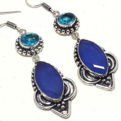 Sa 0441c boucles oreilles saphir topaze bleue 17gr 10x20mm achat vente bijou argent 925